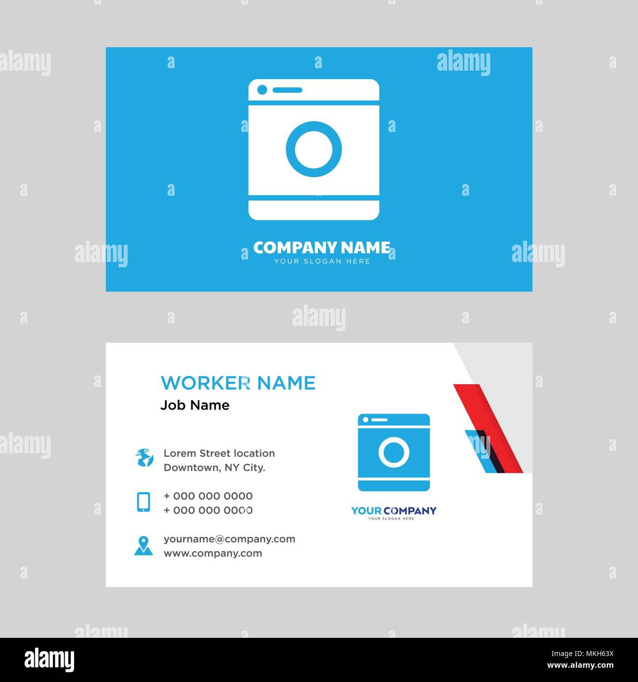 Washing machine business card design template, Visiting for