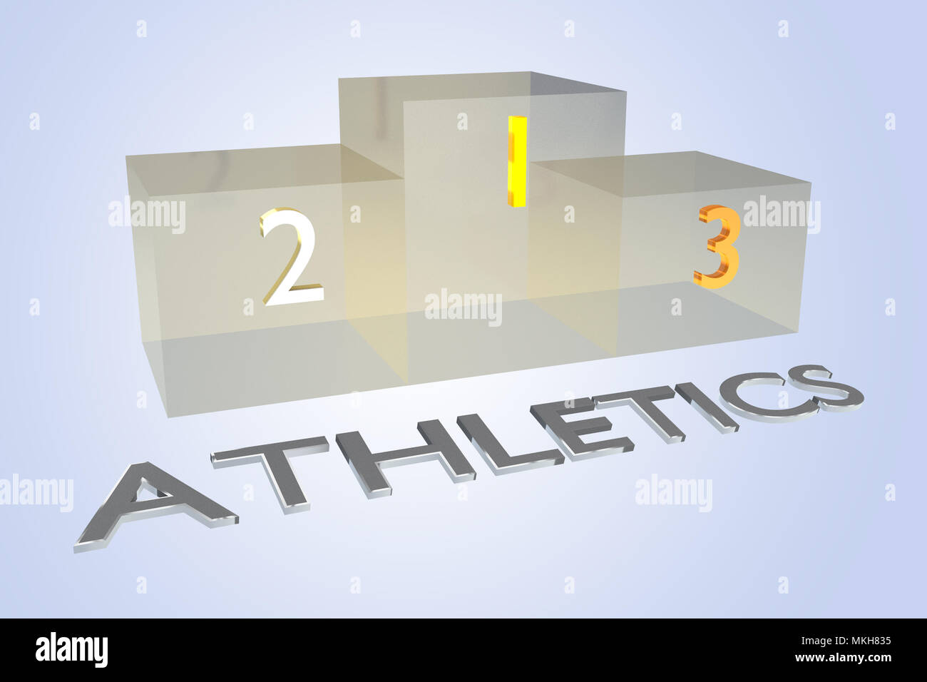 3D illustration of ATHLETICS title with a podium as a background - Stock Image
