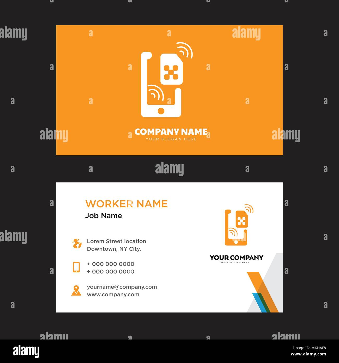 Sim business card design template, Visiting for your company, Modern ...