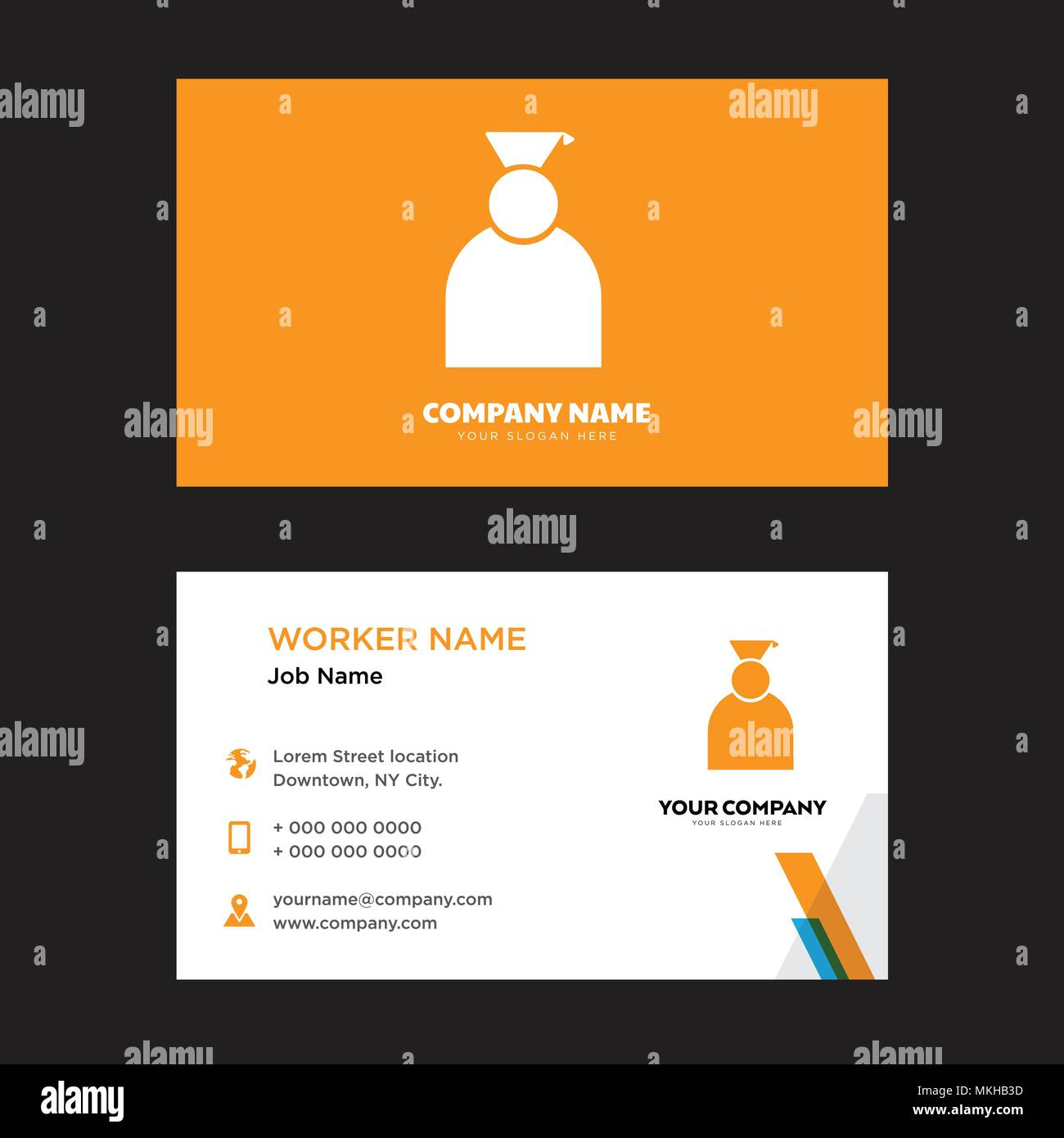 Graduate business card design template, Visiting for your company, Modern horizontal identity Card Vector Stock Vector