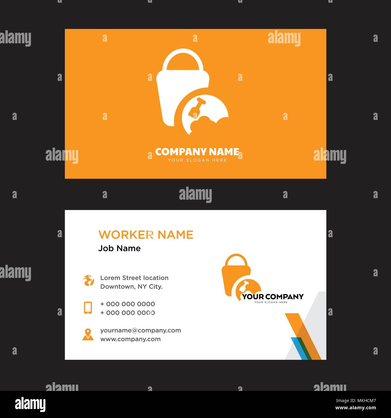 Sand Bucket business card design template, Visiting for your company ...