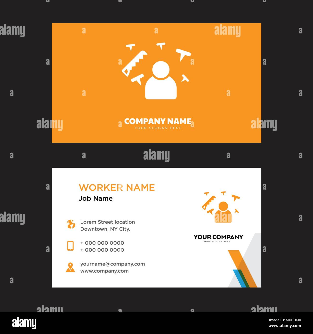 Carpenter business card design template visiting for your company carpenter business card design template visiting for your company modern horizontal identity card vector accmission Gallery