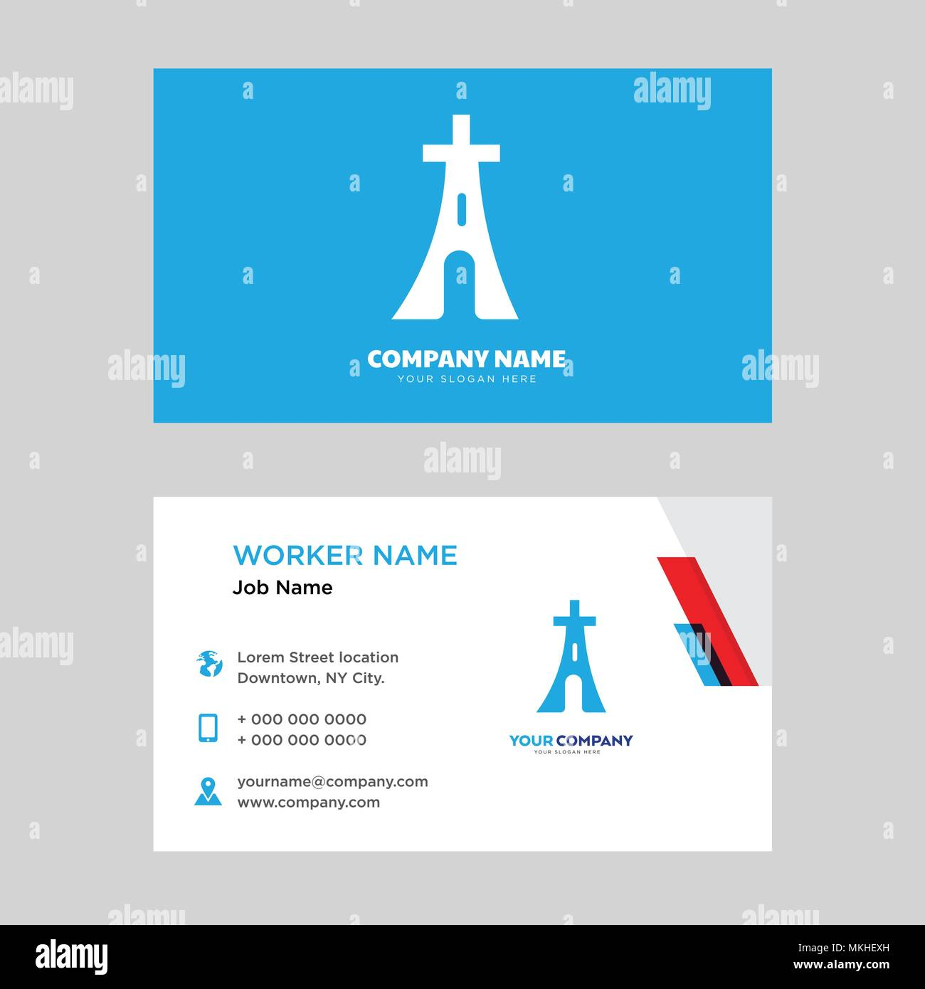 Eiffel tower business card design template, Visiting for your company, Modern horizontal identity Card Vector - Stock Vector