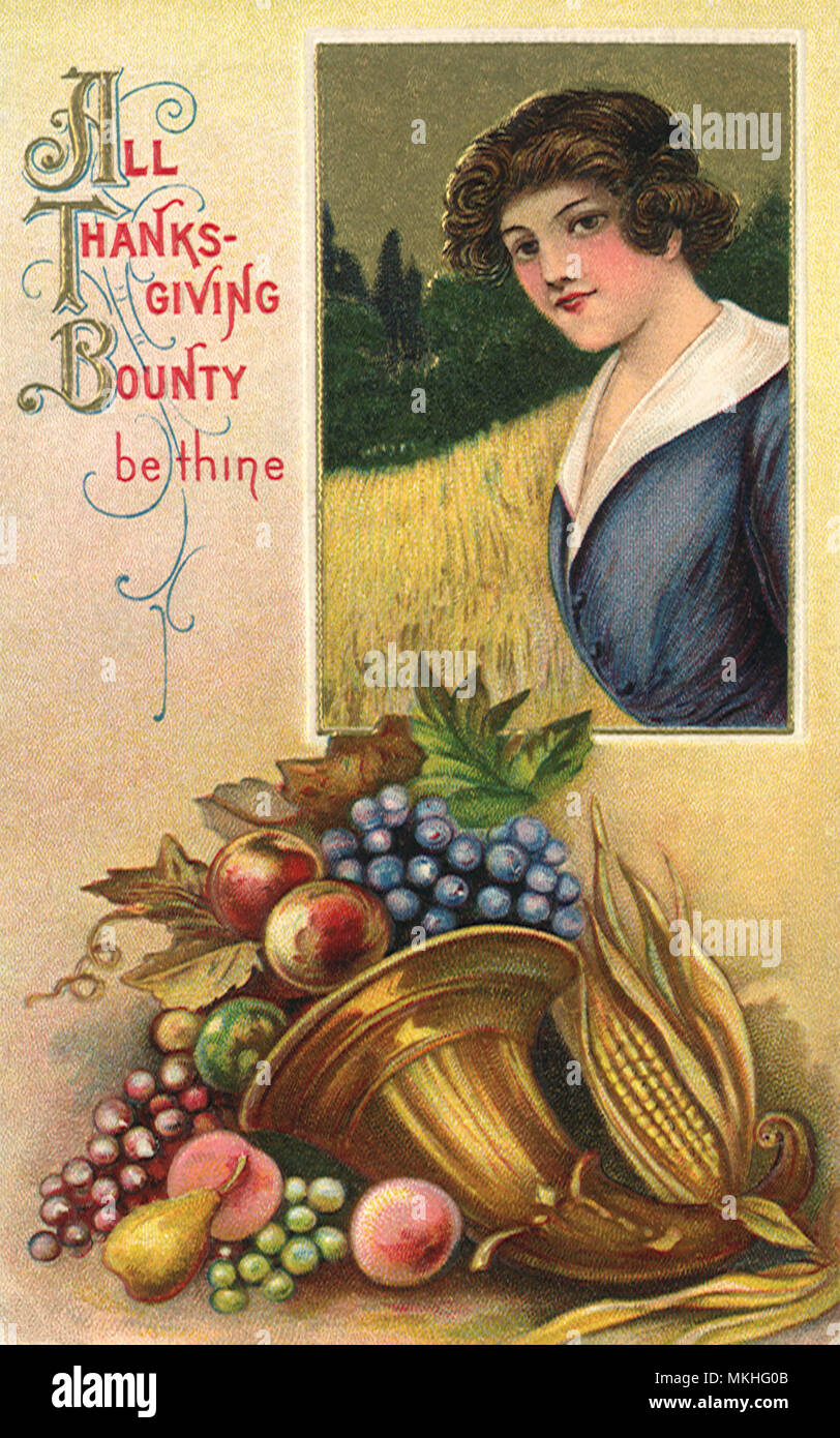 Woman and a Cornucopia - Stock Image