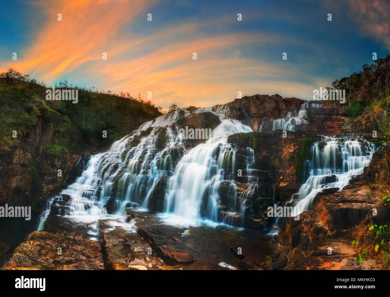 Couros Waterfall, Veadeiros tablelands Brazil. - Stock Image