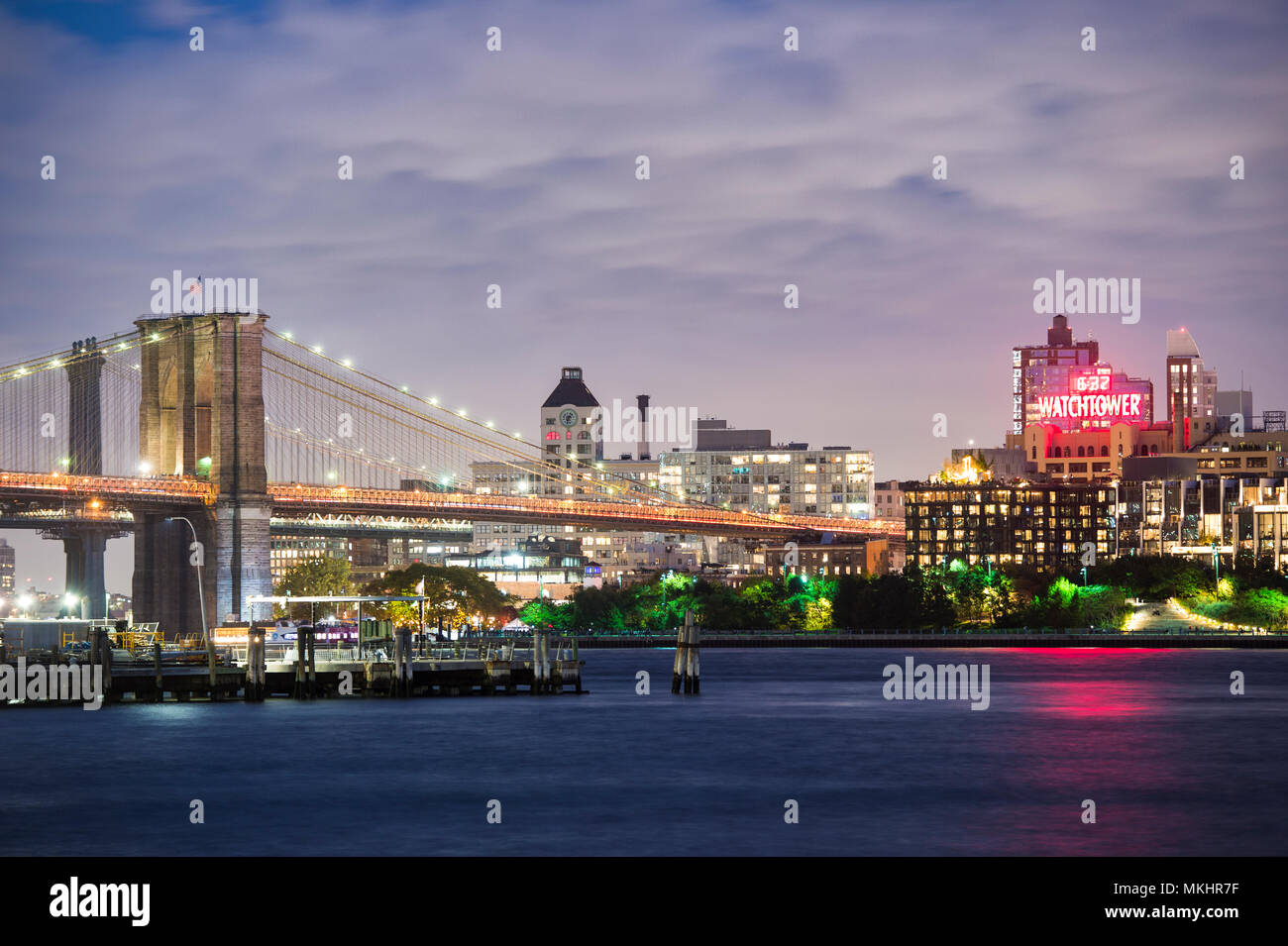 NEW YORK - USA - 29 OCTOBER 2017. View of Manhattan skyline illuminated at dusk over the Hudson River. New York City, USA. Stock Photo