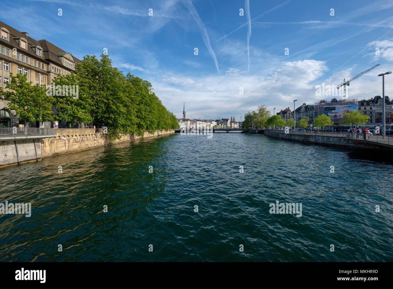 Scenic view of Zurich and the Bahnhofbrücke bridge over the Limmat river, Zurich, Switzerland, Europe - Stock Image