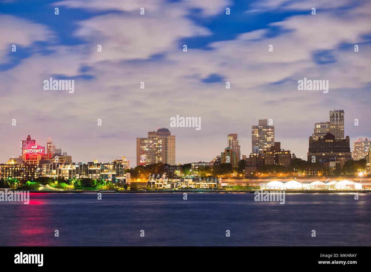 NEW YORK - USA - 29 OCTOBER 2017. View of Manhattan skyline illuminated at dusk over the Hudson River. New York City, USA. - Stock Image