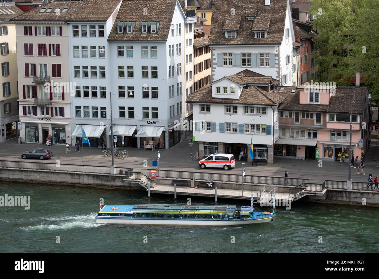 Elevated view of the Zurich skyline from the Lindenhof hill, Zurich, Switzerland, Europe - Stock Image