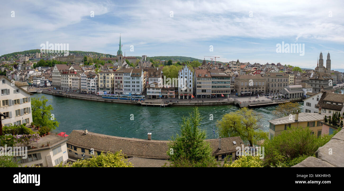 Panoramic view of the skyline from the Lindenhof hill, Zurich, Switzerland, Europe - Stock Image