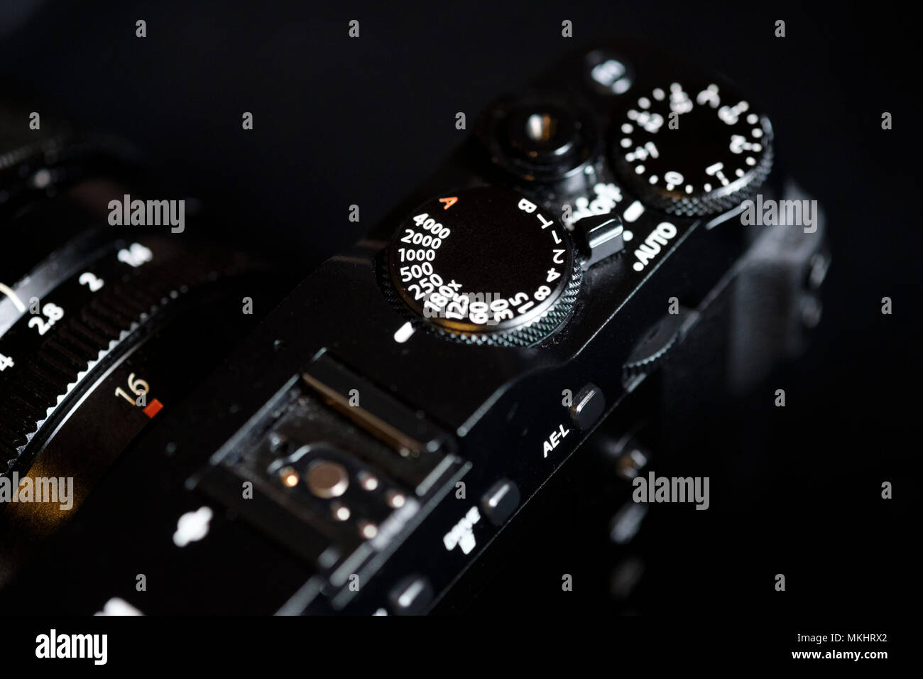 Shutter speed and exposure compensation dials on a Fujifilm X-E3 digital mirrorless camera - Stock Image