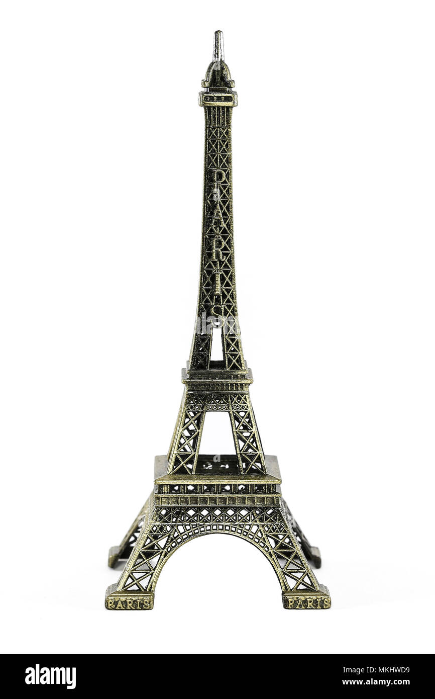 Miniature Eiffel Tower of Paris a famous symbol France with white background. - Stock Image