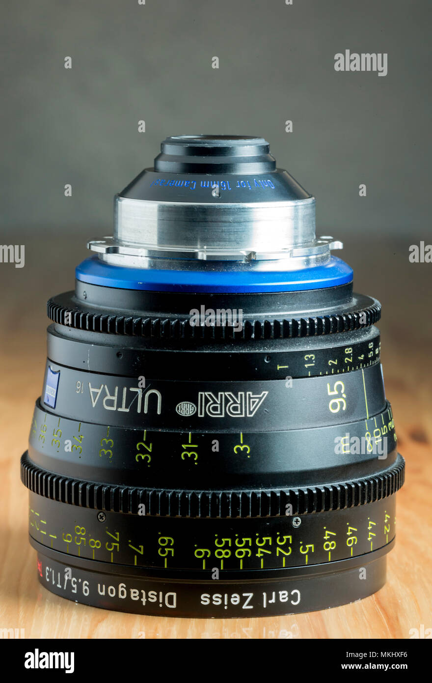 High quality Arri Zeiss Ultra 16  9.5mm T1.3 PL mount lens for use in film and video production. - Stock Image