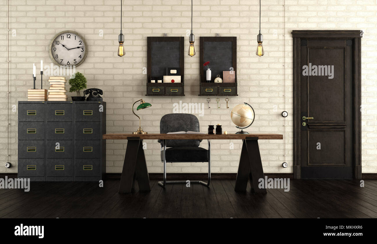 Home Office In Retro Style With Wooden Desk, Black Cabinet And Old Door    3d Rendering