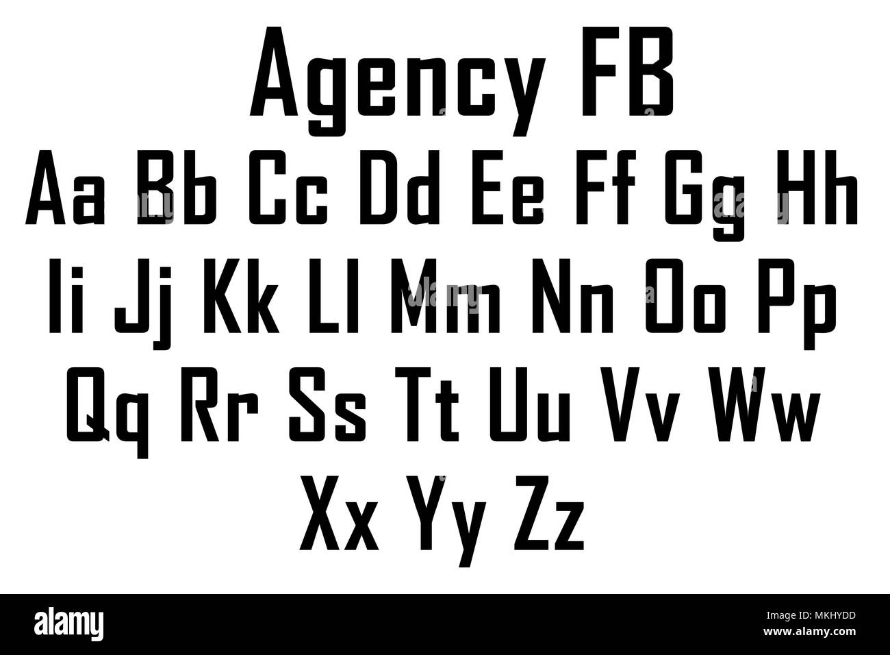 Agency FB font Stock Photo: 184176873 - Alamy