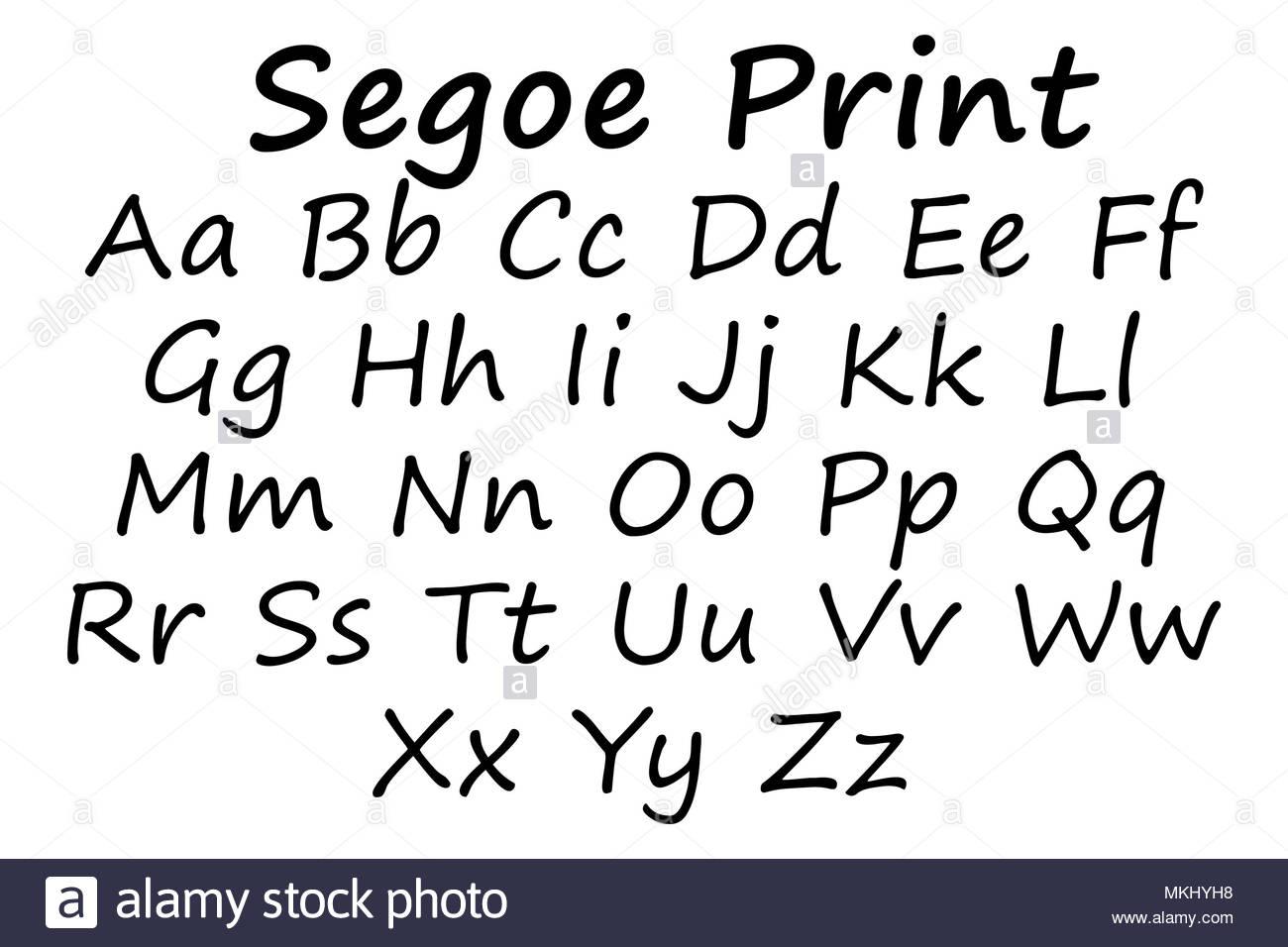 Segoe print font Stock Photo: 184176980 - Alamy