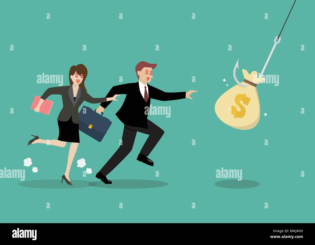 Businessman and woman try to pick money bag from hook trap. Money as trap business concept - Stock Vector