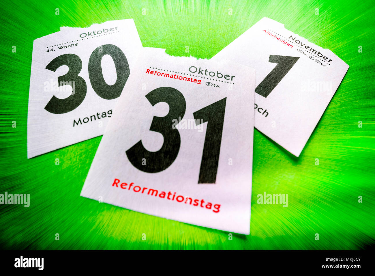 Calendar Sheet 31. October, Reformation Day, Kalenderblatt 31. Oktober, Reformationstag - Stock Image