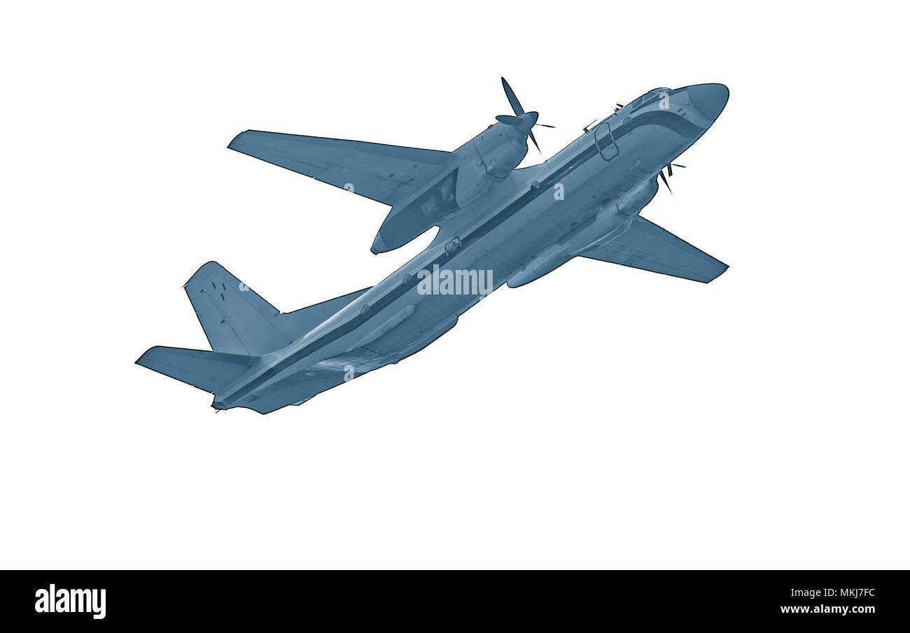 Freight military plane isolated on white background. Stock Photo