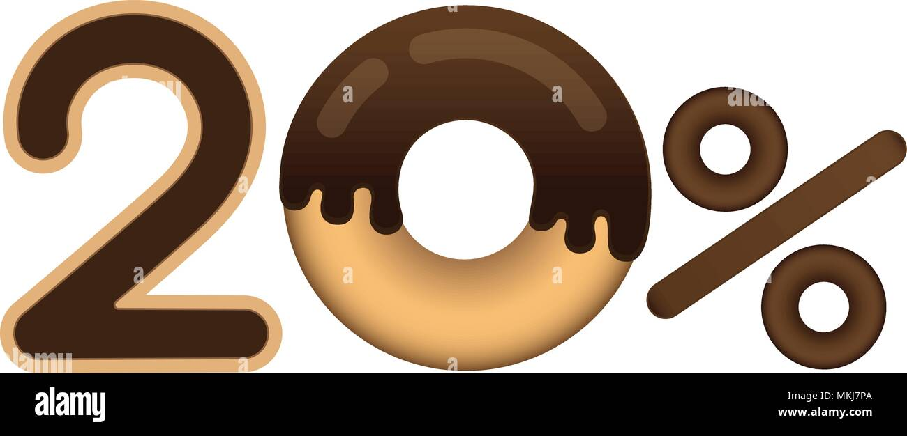 Sale 20 percent and discount price. Lettering made in the form of a donut with glaze isolated on white background. Sale of food. Shopping and low pric - Stock Vector