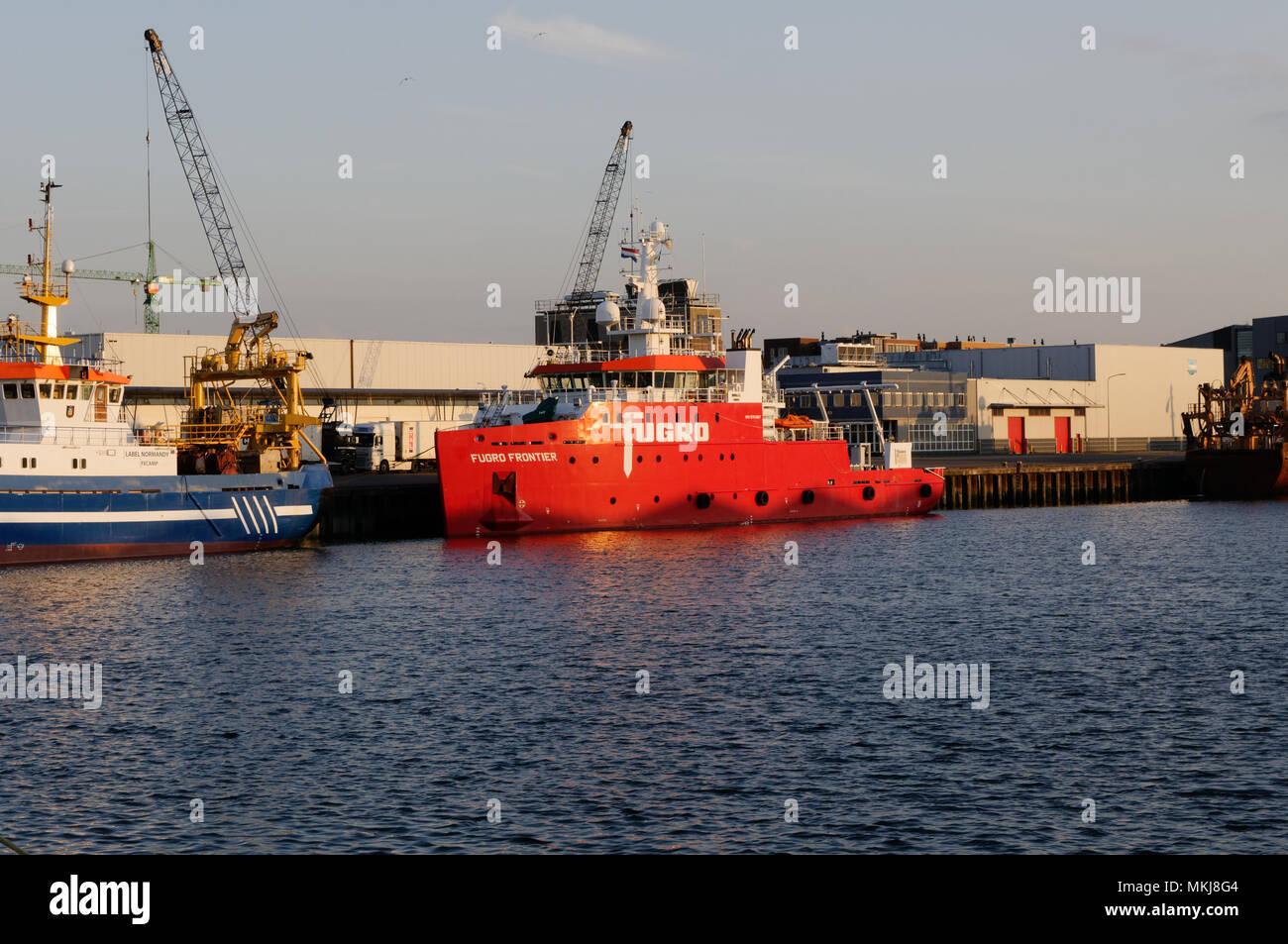The survey vessel Fugro Frontier seen in Scheveningen, Netherlands - Stock Image