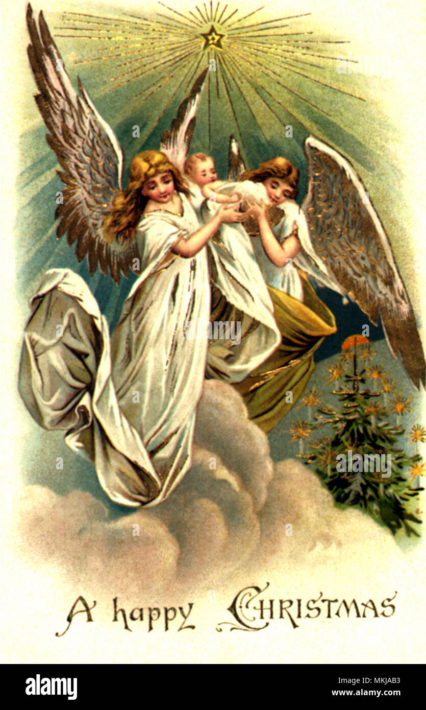 Angels Elevating Child - Stock Image
