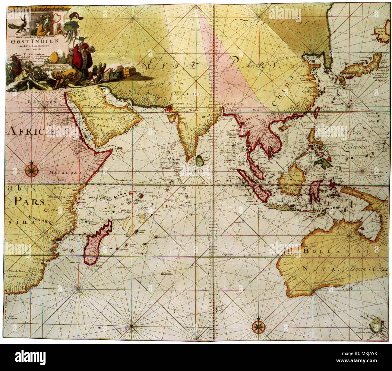 Map of the Indian Ocean 1700 Stock Photo: 184185902 - Alamy