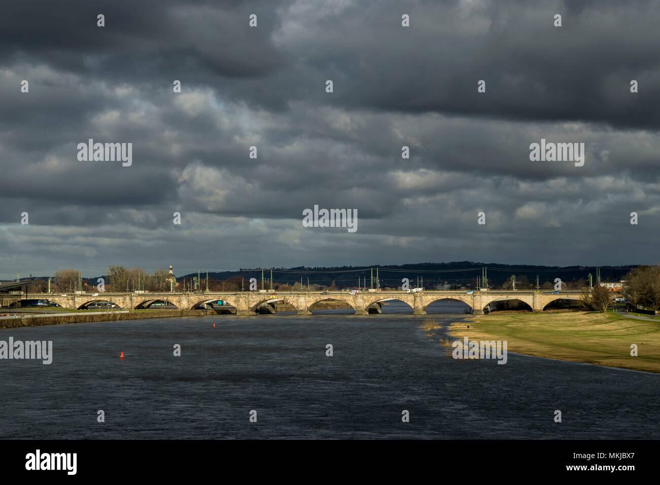 Marie bridge, Dresden, Marienbrücke Stock Photo