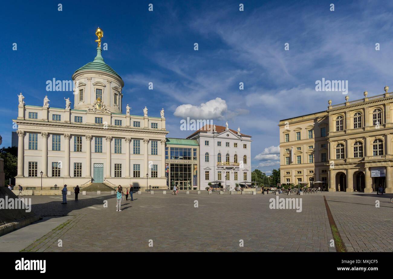 Old Town Hall and the Palais Barberini on the Old Market, Potsdam, Altes Rathaus und Palais Barberini auf dem Alten Markt Stock Photo