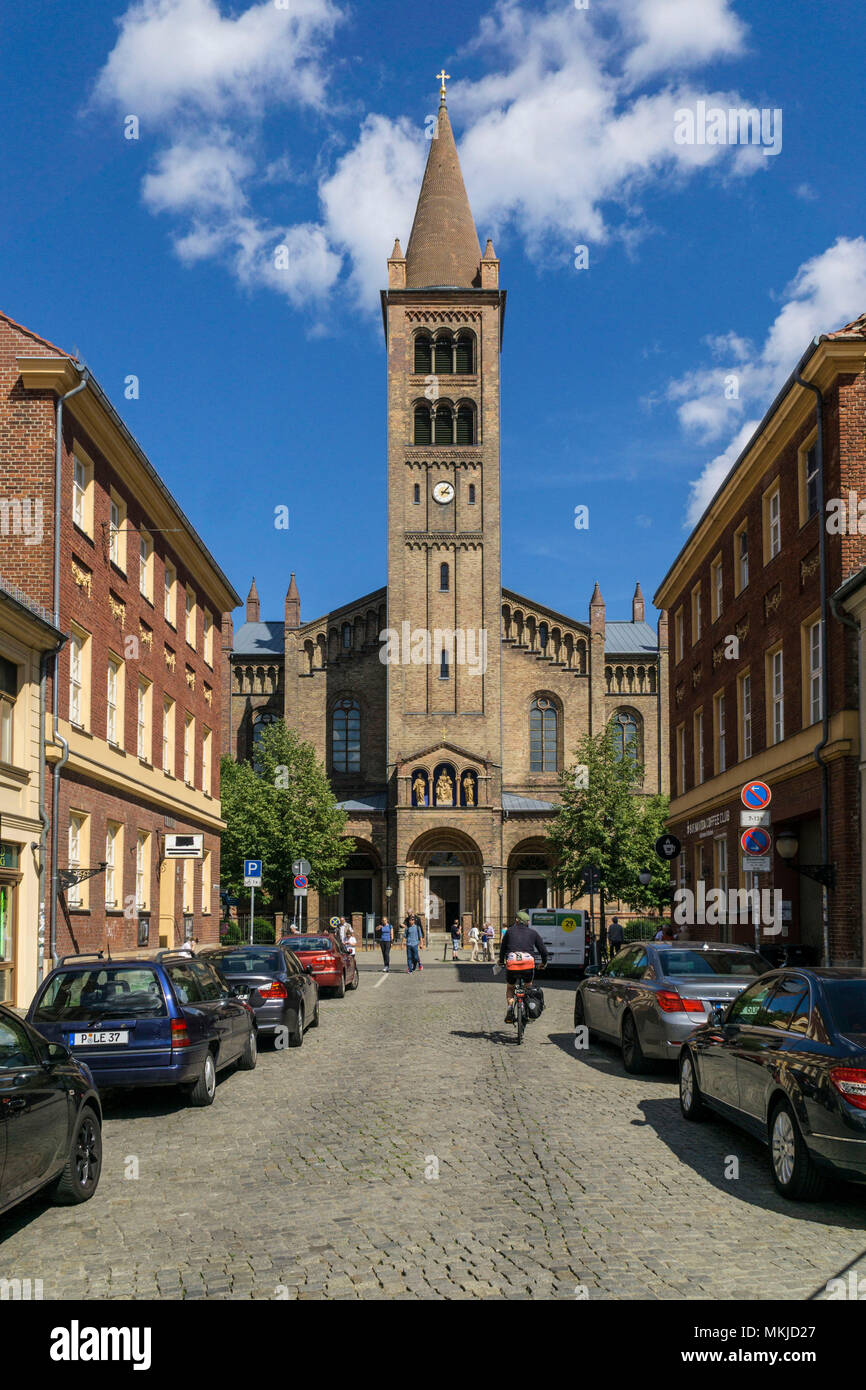 Brandenburger Strasse and town church of St Peter and Paul, Potsdam, Brandenburger Strasse und Stadtkirche St, Peter und Paul - Stock Image