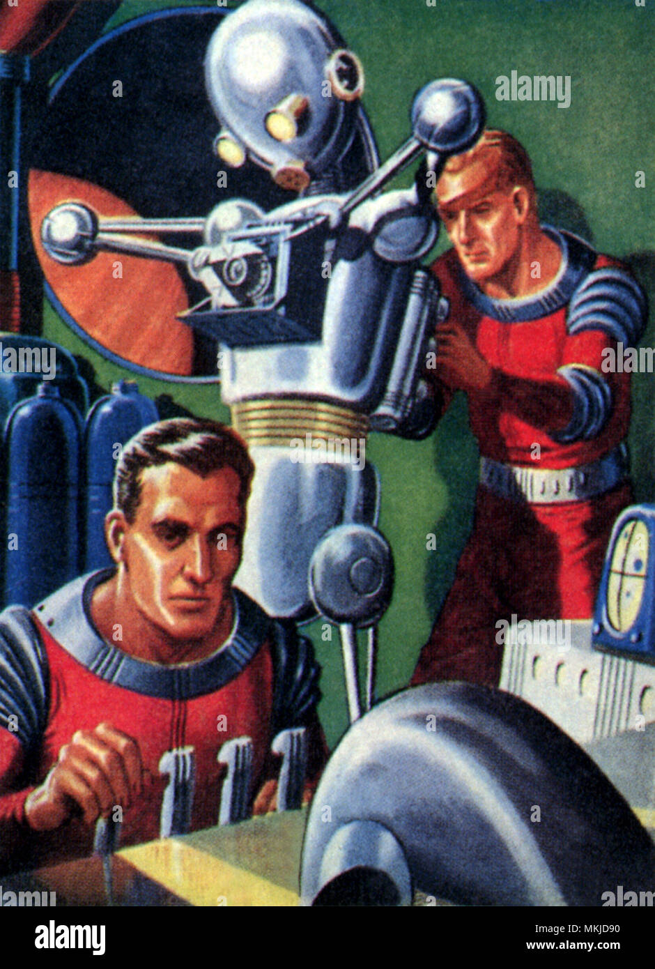 Sci Fi - Astronauts and Robot Stock Photo