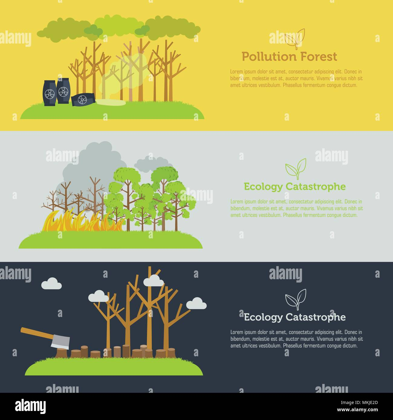 Nature Issue Deforestation Fire Tree And Pollution Banner Flat
