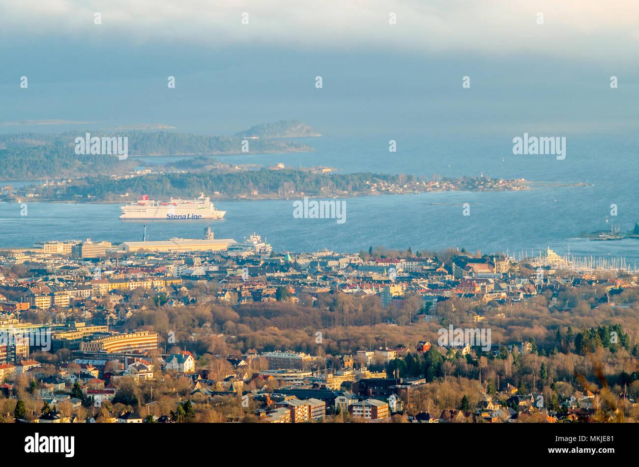 Stena Line big ro-ro ferry leaves Oslo en route to Denmark. - Stock Image