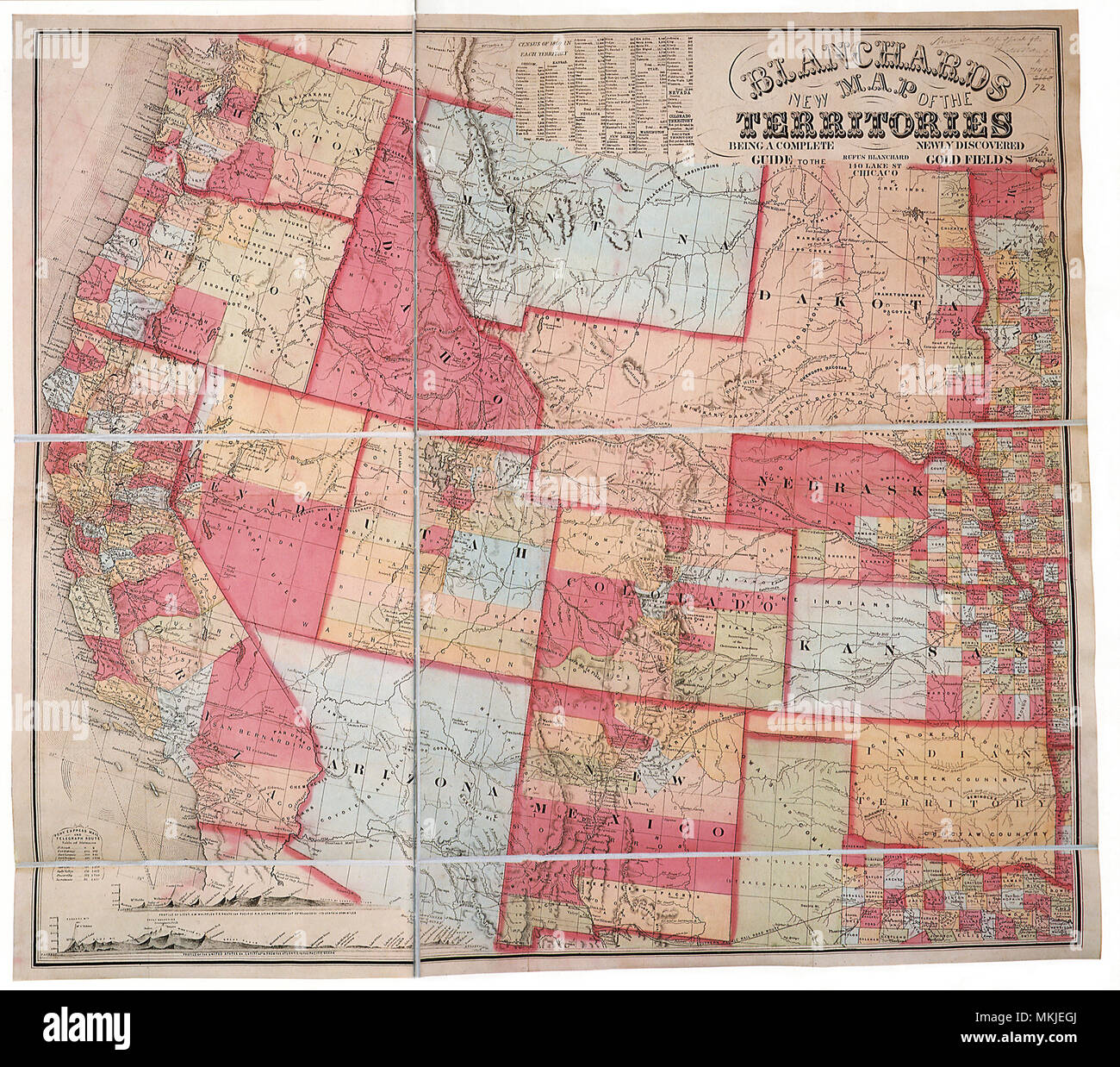Map of West-1860s - Stock Image