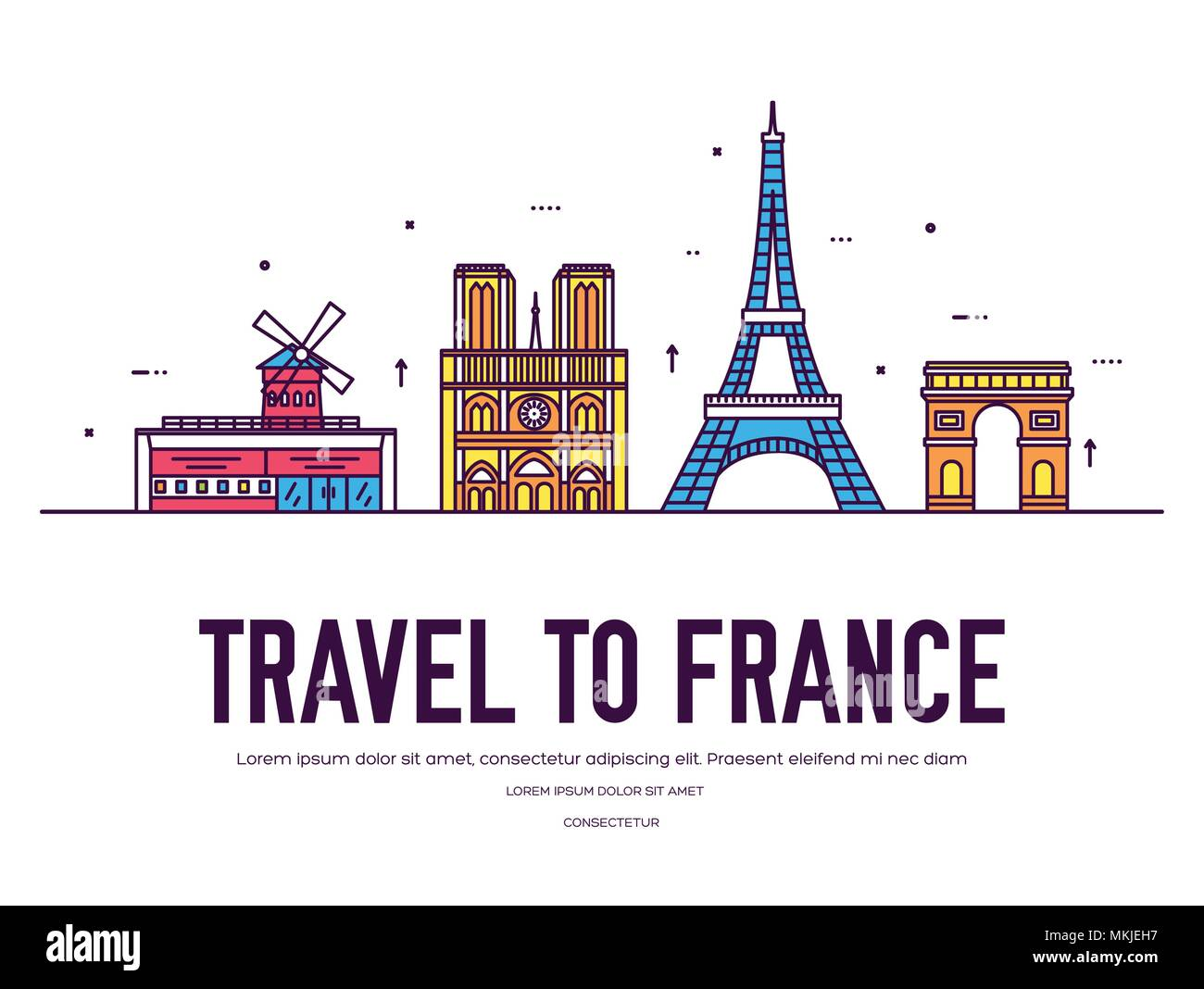 Country France travel vacation of place and feature. Set of architecture, item, nature background concept. Infographic traditional ethnic flat, outline, thin line icon - Stock Image