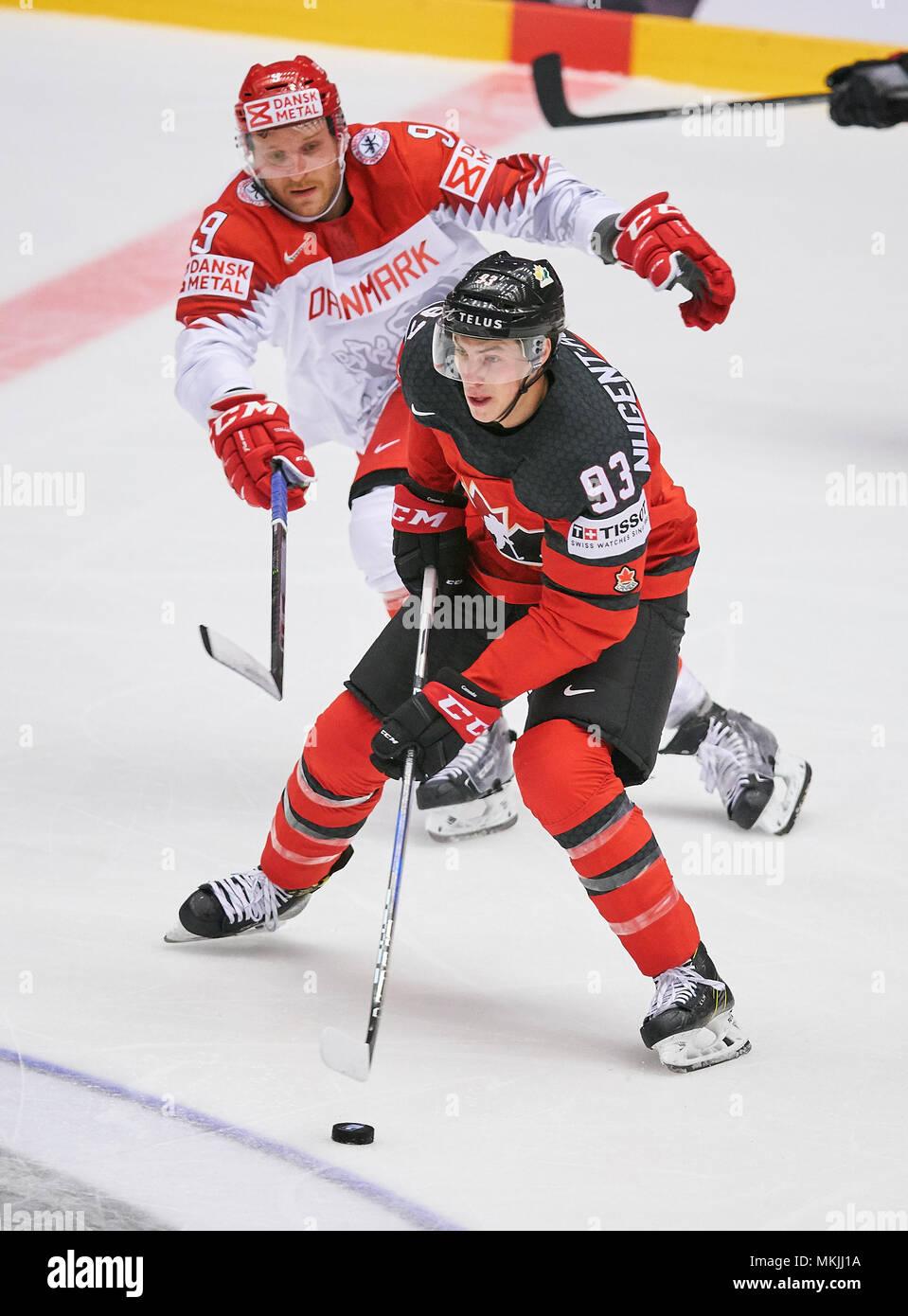 Herning, Denmark May 07, 2018. IIHF Ice Hockey World Cup 2018, Herning, May 07, 2018 Ryan NUGENT-HOPKINS, CAN 93 Frederik STORM, DAN 9   CANADA - DENMARK 7-1 Icehockey Worldcup 2018 DEB , in Herning, Denmark May 07, 2018 © Peter Schatz / Alamy Live News Stock Photo