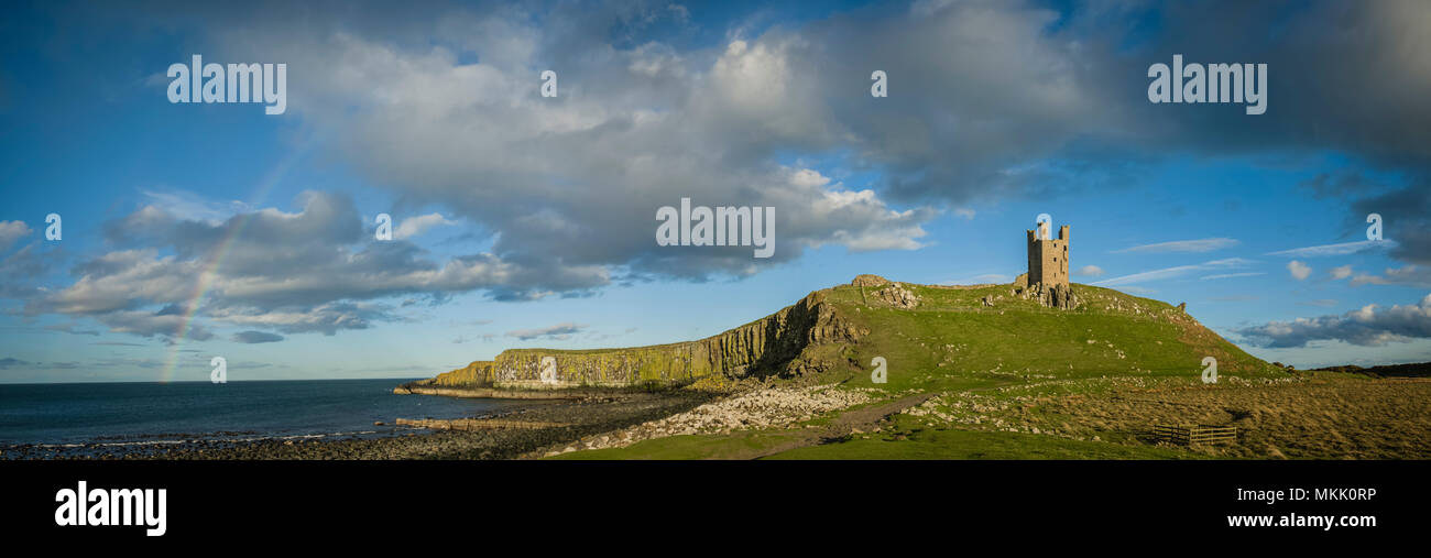 Dunstanburgh Castle, Northumberland, UK. - Stock Image
