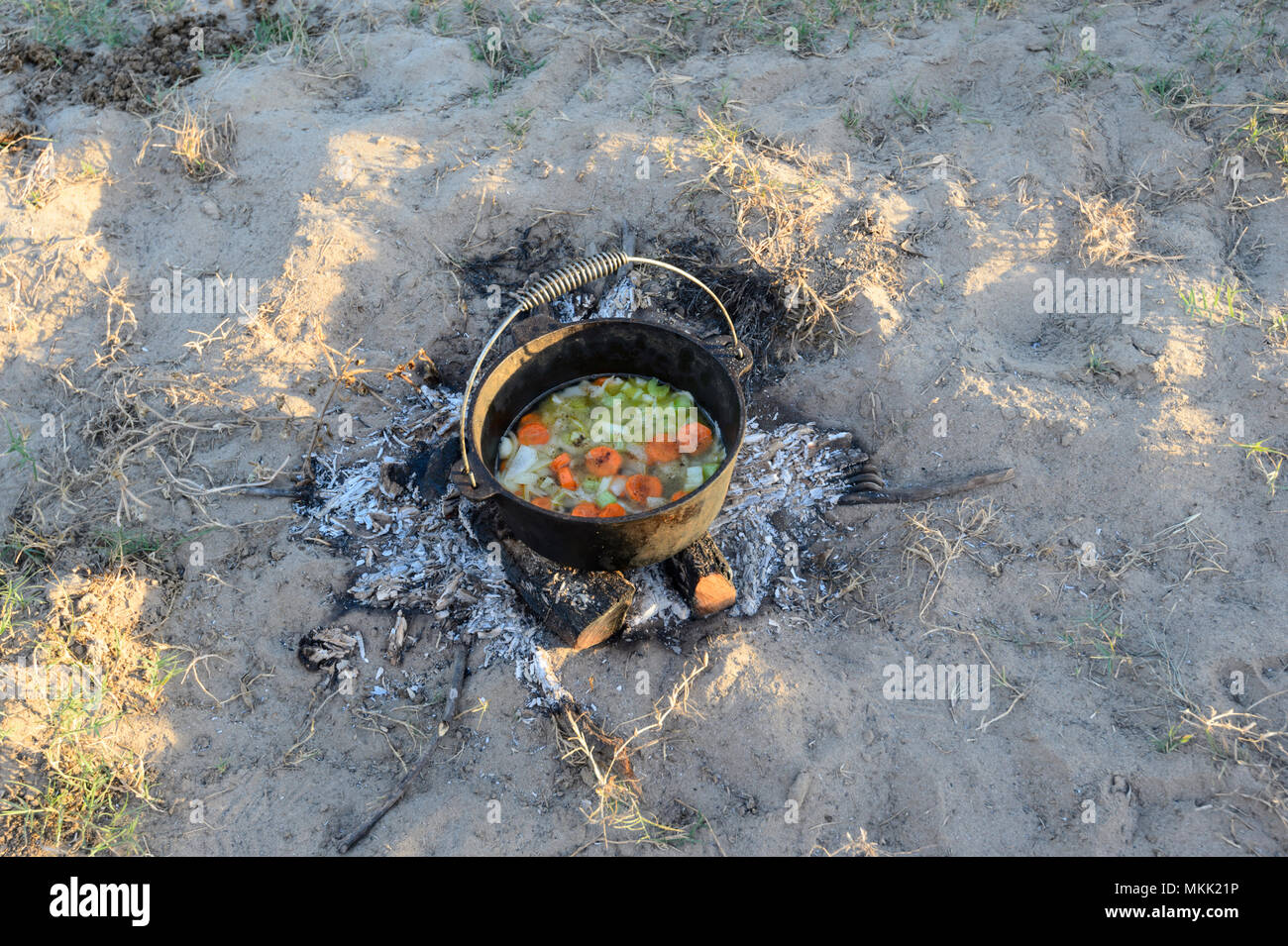 Vegetable stew being cooked in a camp oven while bush camping, Far North Queensland, FNQ, QLD, Australia Stock Photo