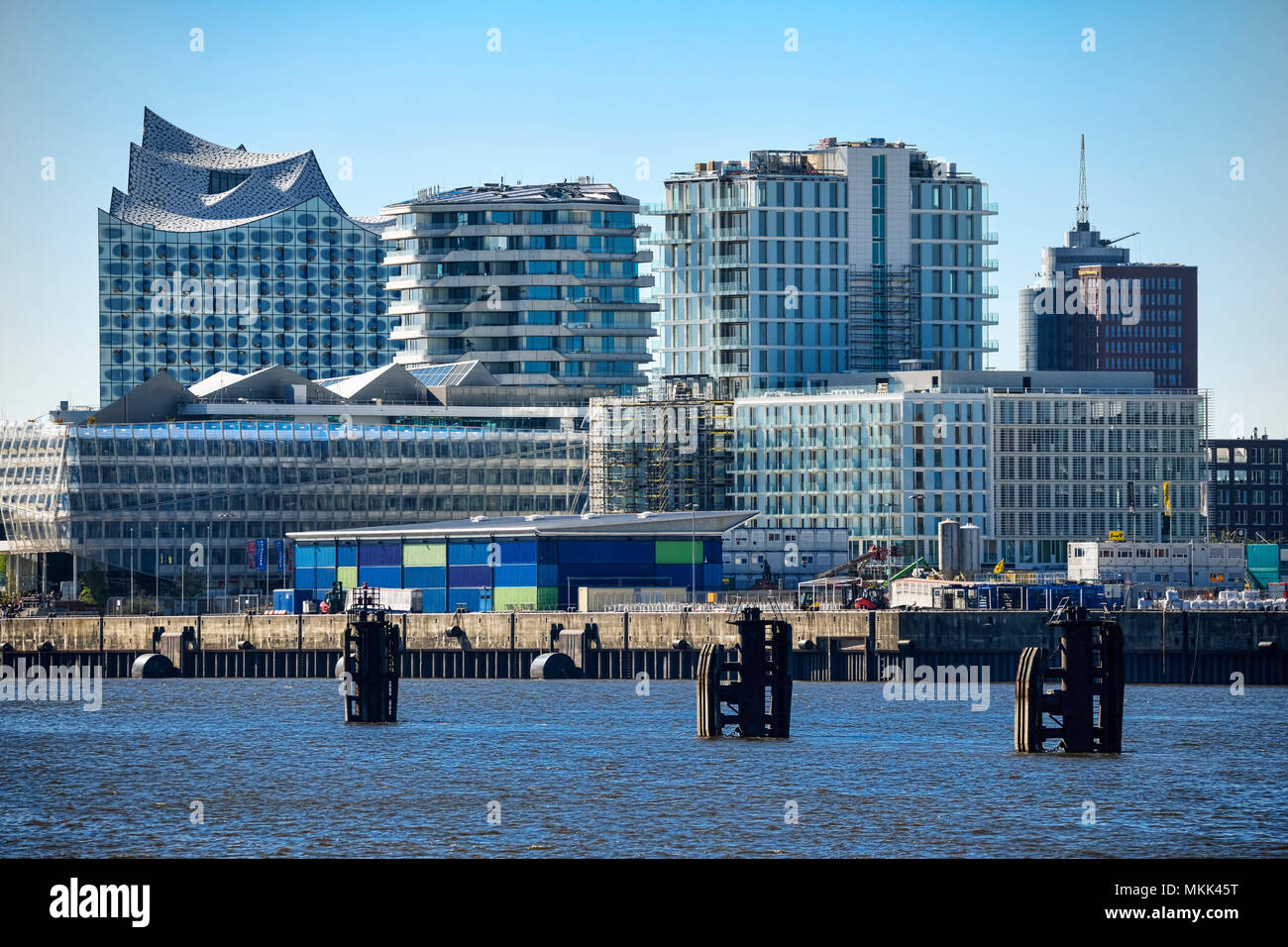 Elbe philharmonic hall, residential buildings and modern office buildings in Hamburg, Germany - Stock Image