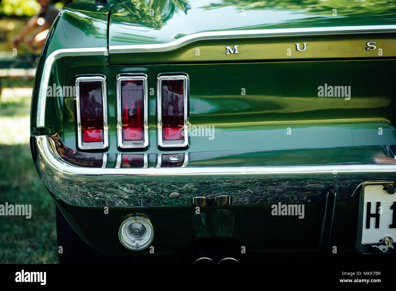 Back of a Ford Mustang - Stock Image