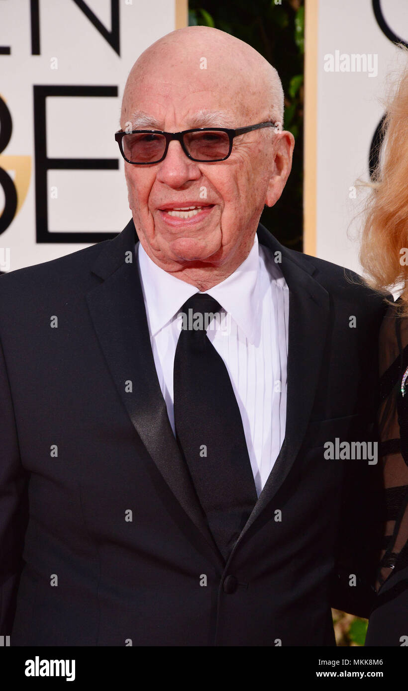 Rupert Murdoch 487  at the 2016 Golden Globe Awards at the Beverly Hilton in Los Angeles. January 10, 2016. Rupert Murdoch 487  Event in Hollywood Life - California,  Red Carpet Event, Vertical, USA, Film Industry, Celebrities,  Photography, Bestof, Arts Culture and Entertainment, Topix Celebrities fashion / one person, Vertical, Best of, Hollywood Life, Event in Hollywood Life - California,  Red Carpet and backstage, USA, Film Industry, Celebrities,  movie celebrities, TV celebrities, Music celebrities, Photography, Bestof, Arts Culture and Entertainment,  Topix, headshot, vertical, from the  - Stock Image