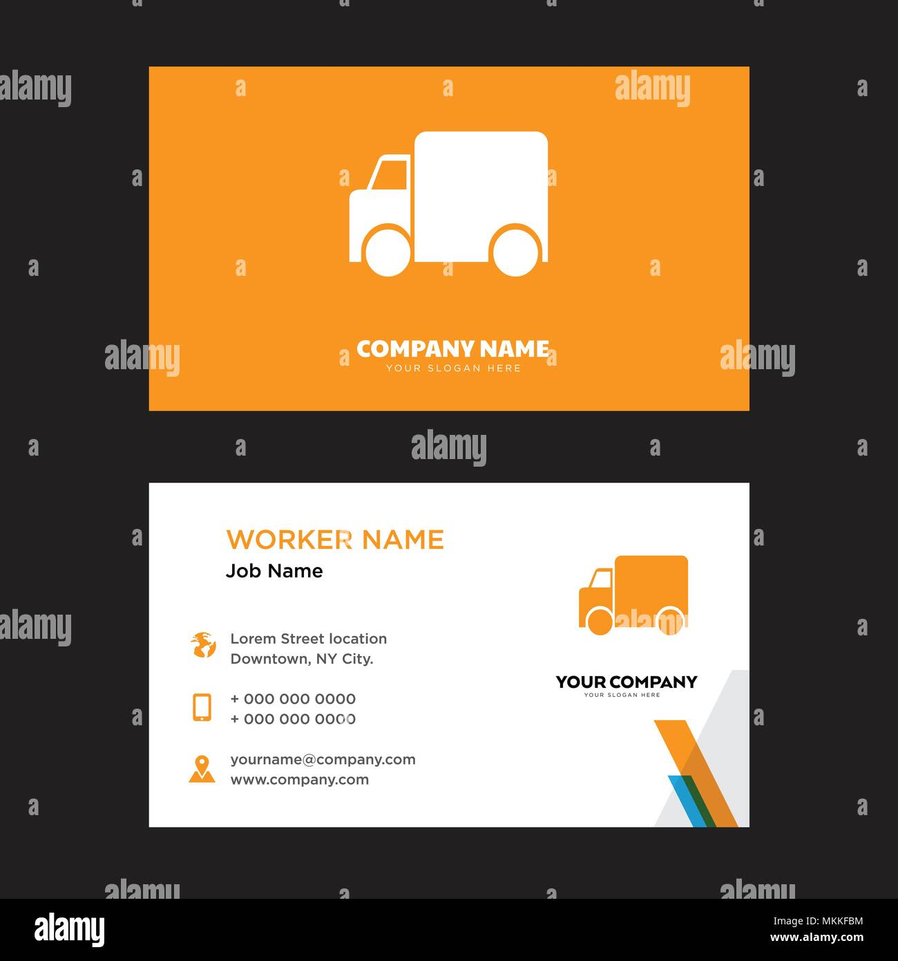 garbage truck business card design template visiting for your