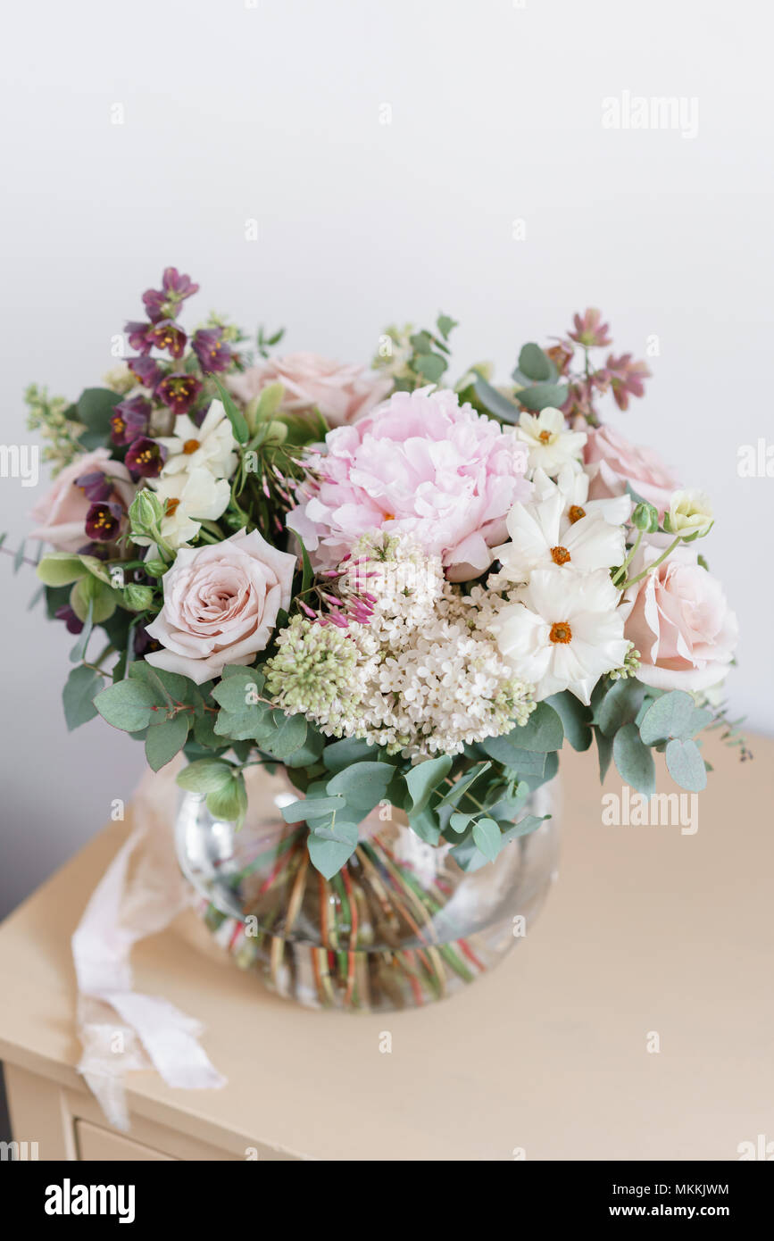 Wedding Bouquet Of White Lilac Roses Peony And Buttercup Lots Of