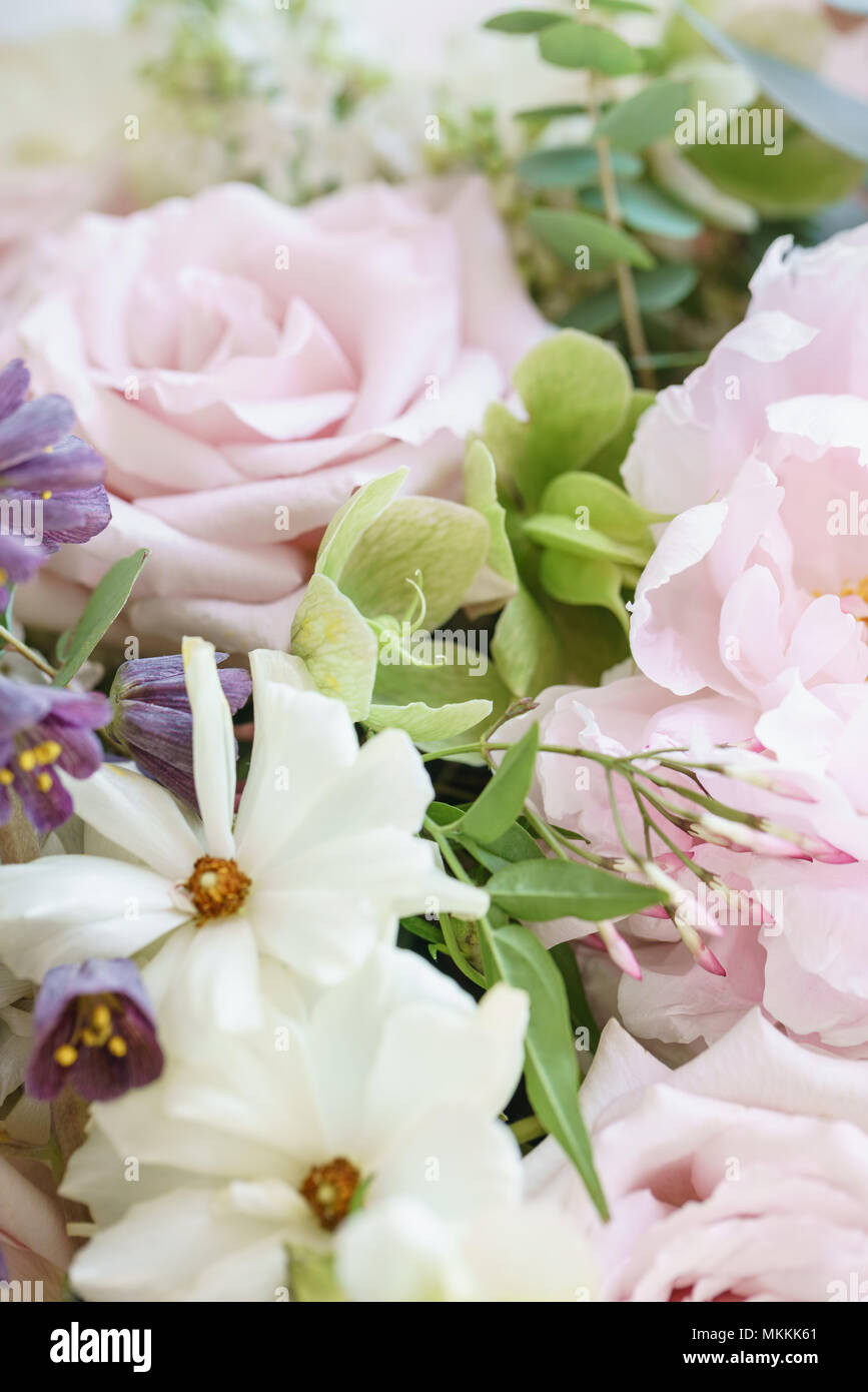 Wedding Bouquet Of Jasmine Roses Peony And Buttercup Lots Of Greenery Modern Asymmetrical Disheveled Bridal Bunch Spring Flowers Stock Photo Alamy