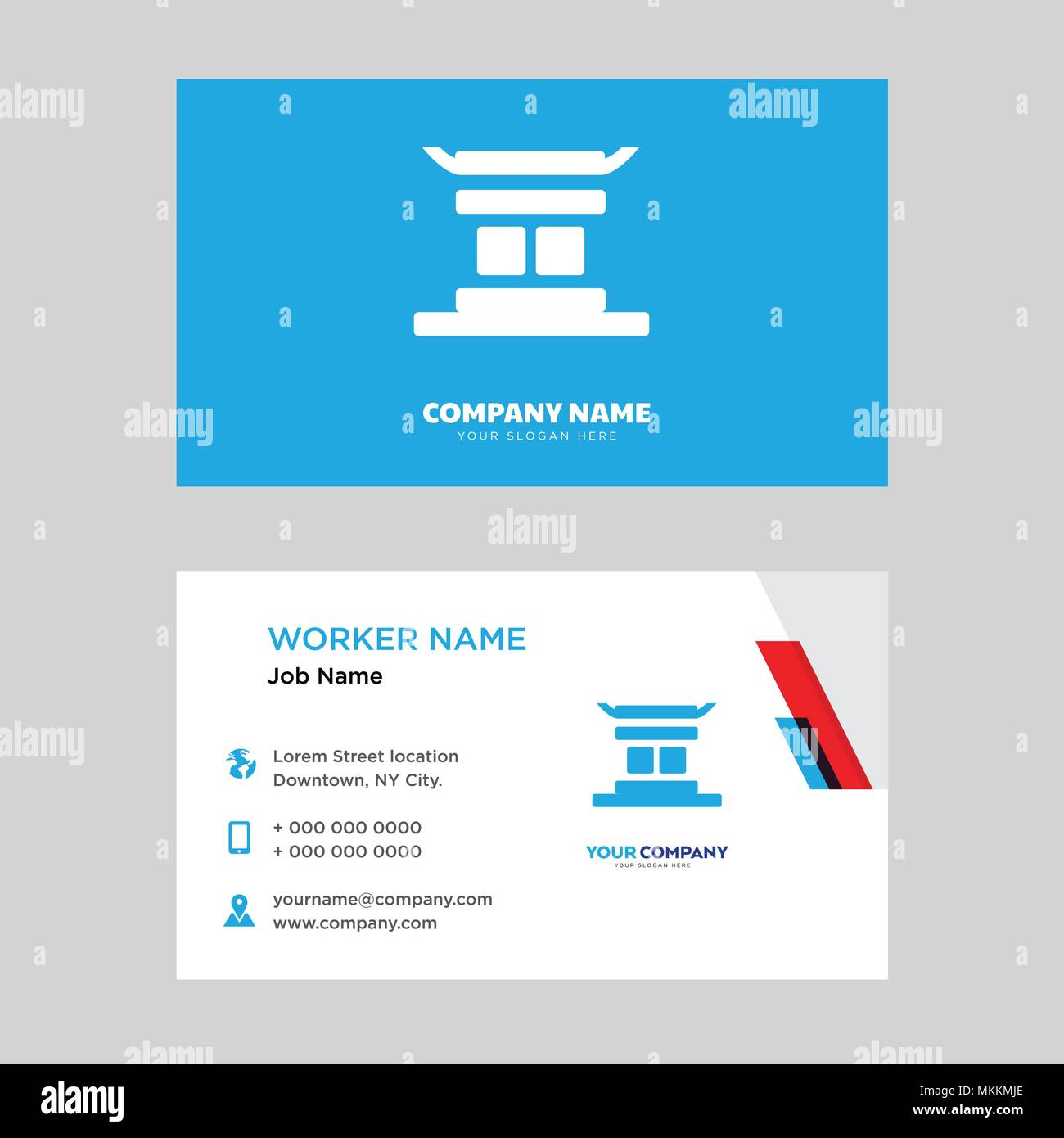 Chinese temple business card design template, Visiting for your ...