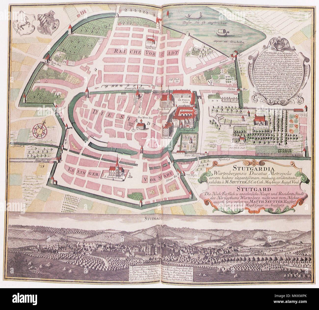 Map of Stuttgart 1742 - Stock Image