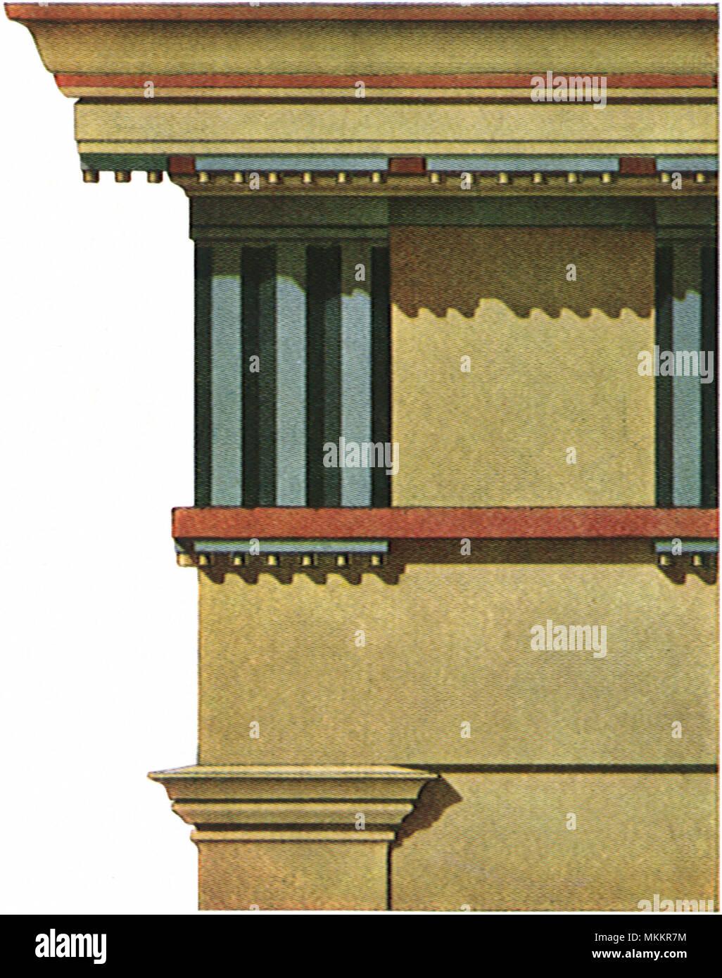 Temple Entablature - Stock Image