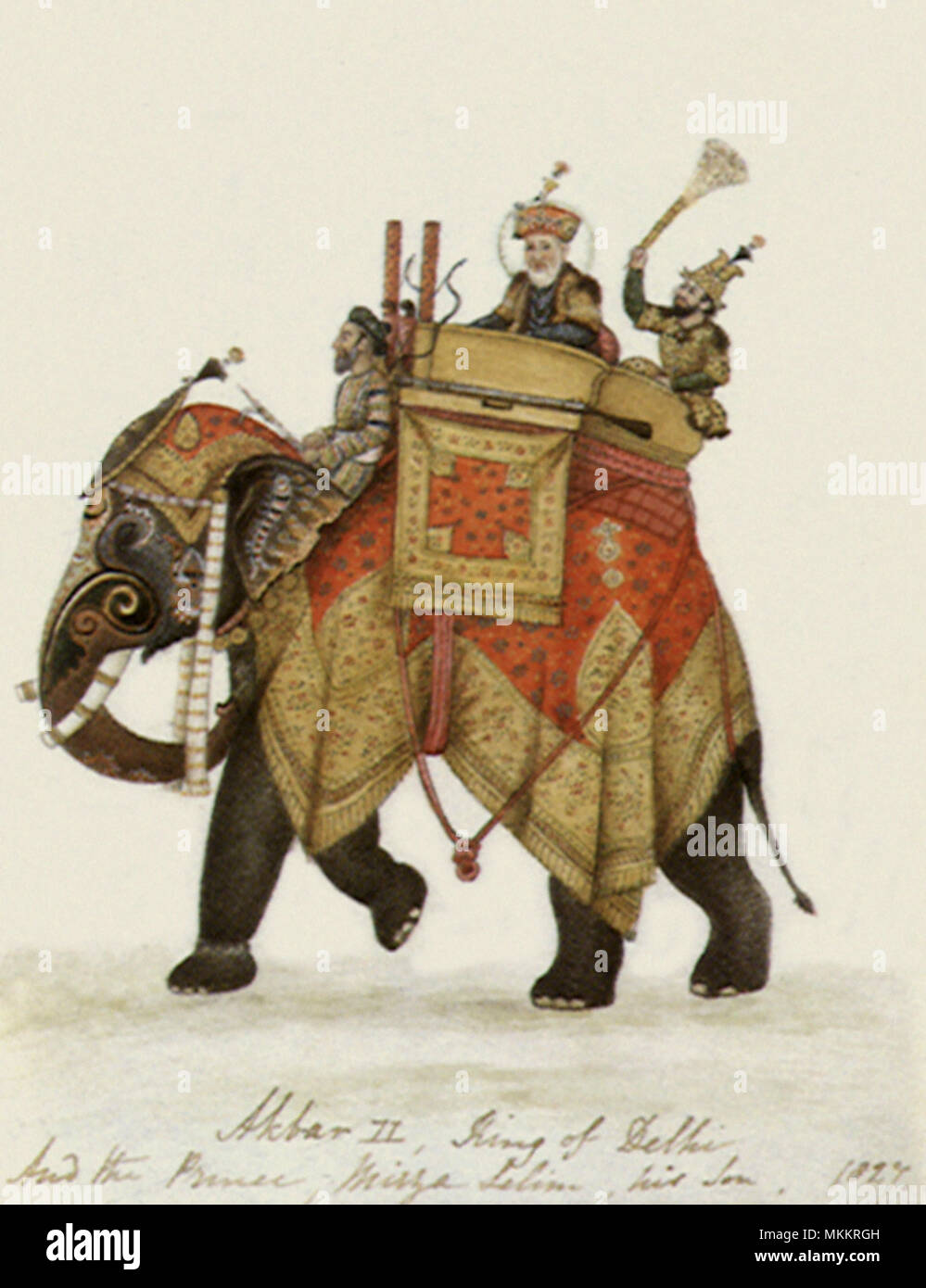 Akbar and Son on Elephant - Stock Image