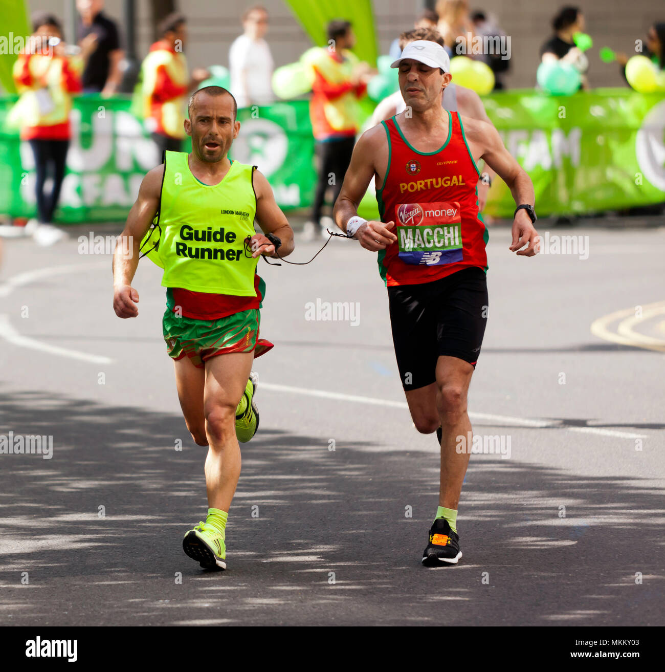 Gabriel Macchi  competing for Portugal in the World Para Athletics World Cup, Part of the 2018 London Marathon. He  finished 9th in a time of 02:44:02 Stock Photo