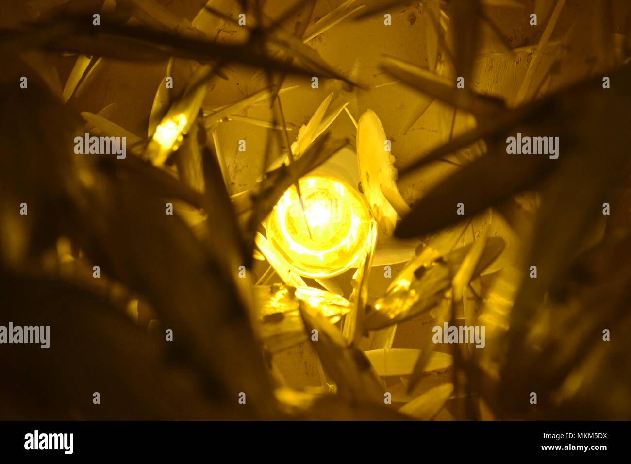 Light inside a chandelier. - Stock Image